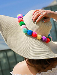 Woman Summer Multicolored Hair Ball Straw Hat Beach Holiday Sunscreen Hat Wholesale