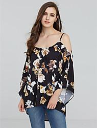 Damen Blumen Sexy Ausgehen / Lässig/Alltäglich Hemd,Bateau Alle Saisons ¾-Arm Schwarz Polyester Mittel