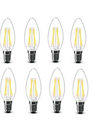 3.5 E14 Ampoules à Filament LED C35 4 COB 400 lm Blanc Chaud Décorative AC220 AC230 AC240 V 8 pièces
