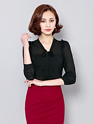 Women's Going out Casual/Daily Work Cute Blouse,Solid V Neck ¾ Sleeve Polyester
