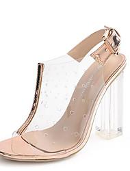 Feminino-Sandálias-Shoe transparente-Salto Grosso--Borracha-Social