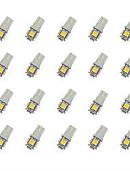 20pcs t10 5 * 5050 smd ha condotto la luce calda dc12v della lampadina dell'automobile