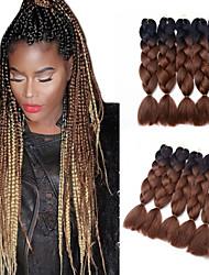 Ombre Jumbo Braid Hair Extension 1B/Dark Brown Color Kanekalon Fiber for Twist Braiding Hair 500g/pack