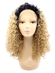 Black Root Lace Front Synthetic Wigs Kinky Curly Hair Ombre Wig Heat Resistant Fiber Hair for Woman