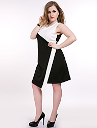 Really Love Women's Plus Size Casual/Daily Party Sexy Vintage Street chic Shift Sheath Black and White Dress,Color Block Patchwork Round Neck Midi