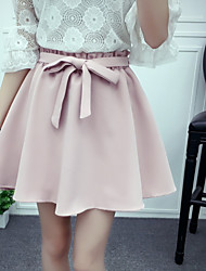 Women's Mid Rise Mini Skirts A Line Solid