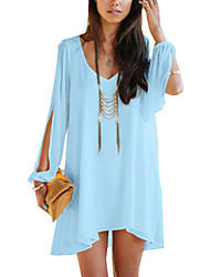 Women's Off The Shoulder Waboats Summer V Neck Sexy Strapless Chiffon Dress