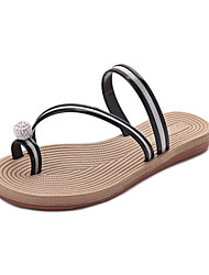 Women's Slippers & Flip-Flops Summer Mary Jane Leatherette Dress Casual Flat Heel Rhinestone Sliver Black Walking