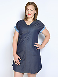 Really Love Women's Plus Size Casual/Daily Holiday Sexy Vintage Cute Shift T Shirt Denim Dress,Color Block Patchwork V Neck Above Knee Short Sleeve
