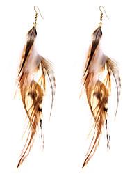 lureme® Drop Earrings Jewelry Geometric Luxury Sideways Fake Simple Style British Feather Alloy Geometric Wings / Feather Jewelry ForBirthday