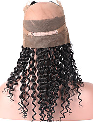 Горячая красота глубокой волны бразильских виргинских человеческих волос 360 кружева фронтальной закрытия с волосами ребенка естественной