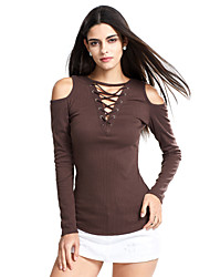 Women's Off The Shoulder|Lace up|Cut Out Going out / Club Sexy / Street chic Spring / Fall T-shirtSolid Deep V Long Sleeve Criss-Cross Cut Out Medium