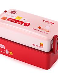 Recipiente de plástico de bolinho de 800ml caixa de bento empilhável