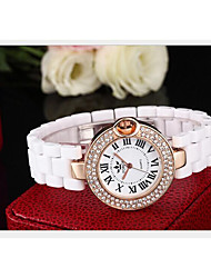 Women's Fashion Watch Quartz Ceramic Band White White Gold