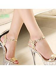 Sandálias das mulheres clube de primavera sapatos pu ouro de prata casual