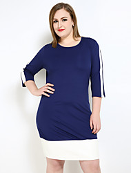 Really Love Women's Plus Size Sexy Simple Street chic Shift T Shirt Tunic Dress,Color Block Round Neck Knee-length ¾ Sleeve PU Polyester Spring Fall