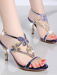 Women's Sandals Summer Gladiator Cashmere Party & Evening Dress Casual Stiletto Heel Rhinestone Blue Purple Gold