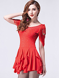 Danse latine Robes Femme Spectacle Viscose Dentelle 2 Pièces Manche courte Taille moyenne Robe Short