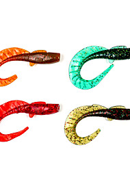 "4 pcs Soft Bait Fishing Lures Soft Bait Dark Blue Brown Green Orange White Silver Red luminous/Fluorescent g/Ounce mm/4-1/4"" inch,Soft"