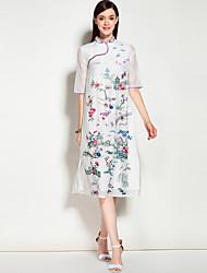 Feminino Evasê Vestido,Para Noite Casual Férias Vintage Moda de Rua Sólido Floral Bordado Colarinho Chinês Médio Meia Manga Seda Algodão