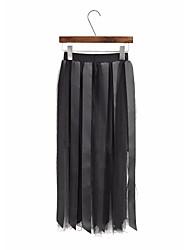 Для женщин Midi Подол,С высокой талией Качеля Однотонный
