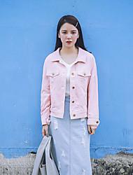 Veste en jean Femme,Couleur Pleine Sortie Plage Vacances simple Mignon Printemps Manches longues Col de Chemise Normal Coton