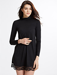Women's Casual/Daily Simple Sheath DressSolid Turtleneck Above Knee Long Sleeve Black