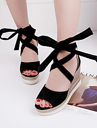 Women's Sandals Spring Summer Club Flange Peep-toe Shoes Gladiator Comfort Suede Dress Casual Wedge Heel Lace-up
