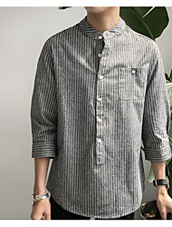 Men's Casual/Daily Simple Shirt,Striped Stand Long Sleeve Cotton