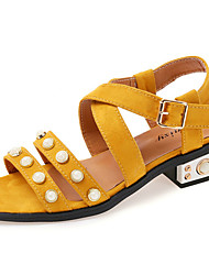 Women's Sandals Gladiator PU Spring Summer Casual Dress Gladiator Imitation Pearl Buckle Flat Heel Black Yellow Army Green Flat