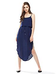 Women's Casual/Daily Sexy / Simple Backless Bandage Irregular Sheath DressSolid Strap Midi Sleeveless