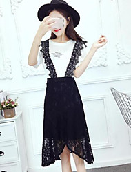 Feminino Japonesa/Curta Vestidos Conjuntos Happy-Hour Casual VintageCor Única Com Corte Decote Redondo Micro-Elástico