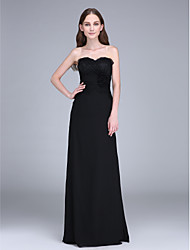 LAN TING BRIDE Sweep / Brush Train Strapless Bridesmaid Dress - Little Black Dress Sleeveless Chiffon