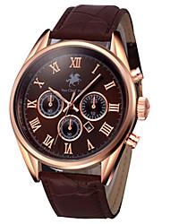 Men's Fashion Watch Quartz Leather Band Black Brown Gloden Brown Purple Black