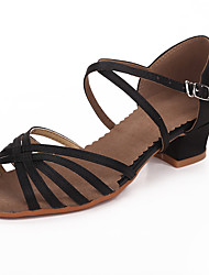 Kids' Latin Satin Sandals Professional Buckle Chunky Heel Black Dark Brown Non Customizable