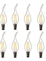 3.5 E14 Luces LED en Vela CA35 4 COB 400 lm Blanco Cálido Decorativa AC 100-240 V 8 piezas