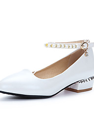 Women's Heels Summer Fall Club Shoes PU Office & Career Party & Evening Dress Low Heel Pearl Blushing Pink White