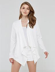 Kimono Jacket Femme,Couleur Pleine Sortie Décontracté / Quotidien simple Chic de Rue Printemps Automne Manches longues Drapé Normal