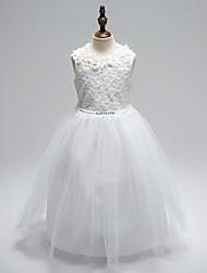 De Baile Até o Tornozelo Vestido para Meninas das Flores - Organza Decorado com Bijuteria com Apliques Laço(s) Detalhes em Cristal