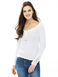 Women's Casual/Daily Sexy Fall / Winter T-shirt,Solid V Neck Long Sleeve White Cotton Medium