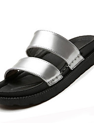 Women's Flats Spring Summer Comfort PU Casual Flat Heel Buckle Silver Black White Gold Walking
