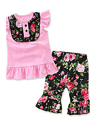 Girls' Going out Casual/Daily Holiday Floral Print Geometric SetsCotton Summer Short Sleeve Kids Baby Clothing Set