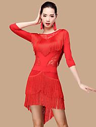 Dovremo abiti da ballo latino donne poliestere / merletto 2 pezzi costume da ballo