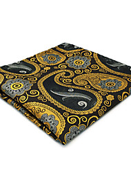 CH1 Mens Pocket Square Wedding Gold Gray Paisley 100% Silk Business Casual Jacquard Woven New