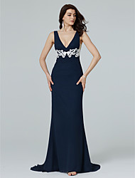 TS Couture Formal Evening Dress - Open Back Sheath / Column V-neck Sweep / Brush Train Chiffon with Appliques