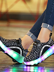 Kids Boy Girl's Roller Skate Shoes / Ultra-light One Two Wheel Skating LED Light Luminous Shoes Tulle Outdoor Athletic Casual LED Hook & Loop
