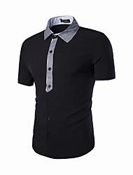 Herren Solide Retro Einfach Lässig/Alltäglich T-shirt,Peter Pan-Kragen Sommer Kurzarm Baumwolle Mittel