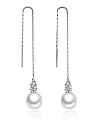Long Drop Earrings Unique Elegant Design Imitation Pearl Cubic Zirconia Platinum Plated Silver Jewelry For Wedding Party