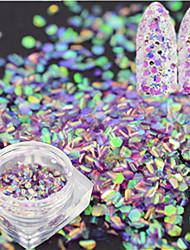 1 бутылка моды сладкий гвоздь блеск светло-фиолетовый рыбы масштаба ломтик украшения лазерная игрушка ногтей русалка шестиугольник блестка