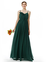 LAN TING BRIDE Floor-length Spaghetti Straps Bridesmaid Dress Sleeveless Chiffon